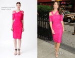 Emmy Rossum In Monique Lhuillier - 'Project Runway' Taping