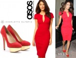 Eva Longoria's ASOS Sexy Pencil Dress And Charlotte Olympia Platform Pumps