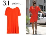 Eva Mendes' 3.1 Phillip Lim Silk Shift Dress And Rebecca Minkoff Drew Cage Booties