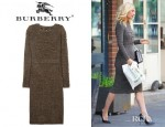 Gwyneth Paltrow's Burberry Prorsum Bouclé Wool Blend Bow Back Dress And Sergio Rossi Leather Pumps