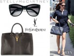 Jennifer Garner's YSL Cabas Chyc Lizard Effect Leather Tote And Stella McCartney Oversized Plastic Sunglasses