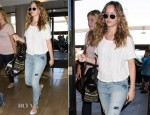 Jennifer Lawrence In Thakoon Addition & Current/Elliott - LAX