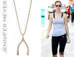 Jennifer Lawrence's Jennifer Meyer Rose Gold Diamond Wishbone Necklace