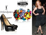 Jessica Chastain's Tom Binns Riri Painted Swarovski Crystal Cuff And YSL Tribute Patent Leather Mary Jane Pumps