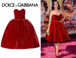 Katy Perry's Dolce & Gabbana Strapless Velvet Dress