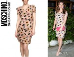 Kelly Brook's Moschino Cheap and Chic Gathered Eye Print Crepe De Chine Dress