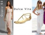 Lauren Conrad's Gypsy 05 Altar Strapless Dress And Dolce Vita DV Archer Sandals