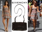 Lea Michele's Parker Quilted Empire Dress And Givenchy Mini Pepe Pandora Messenger