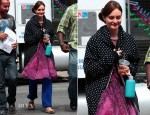 On The Set Of Gossip Girl With Leighton Meester In Red Valentino