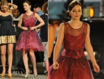 On The Set Of Gossip Girl With Leighton Meester In Red Valentino...Again