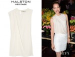 Leslie Bibb's Halston Heritage Pleated Washed Silk Georgette Blouse