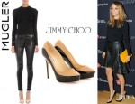 Nicole Richie's Mugler Cutout Back Blouse And Jimmy Choo Sepia Patent Leather Trimmed Pumps