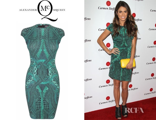 Nikki Reed's McQ Alexander McQueen Cable-Print Cap Sleeve Dress
