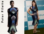 Olga Kurylenko's Peter Pilotto Velvet Cutout Dress