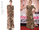 Olivia Wilde's Yigal Azrouel Leopard Silk Crepe Dress