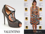 Rashida Jones' Valentino Crystal Coated Mesh T-Strap Platform Pumps
