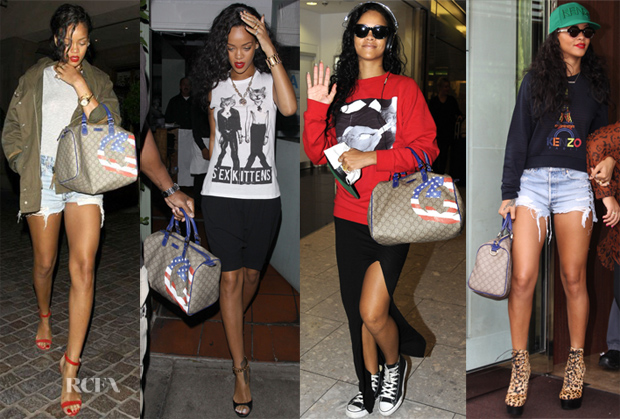5a6294768ae366 Rihanna Loves Her…. Gucci USA GG Flag Collection Boston Bag - Red ...