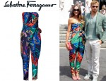Sharni Vinson's Salvatore Ferragamo Multicolor Belted Silk Jumpsuit