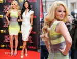 Tulisa Contostavlos In Celeb Boutique & Nicole Scherzinger In Rafael Cennamo - X Factor UK Press Conference