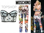 Tulisa Contostavlos' Topshop Pastel Flock Spot Bralet And Moschino Graffiti Print Stretch Satin Skinny Pants
