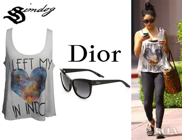 Vanessa Hudgens' Simdog I Left My Heart in Indio Tank And  Dior Cat's-Eye Acetate Sunglasses
