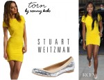 Venus Williams' Torn by Ronny Kobo Kaitlyn Pleated Dress And Stuart Weitzman Glittered Ballerina Flats