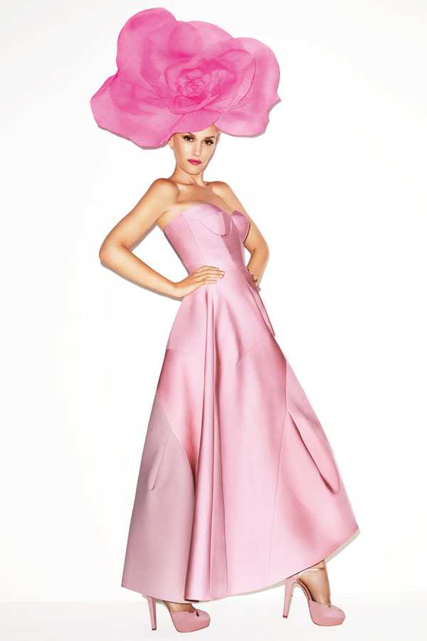 Jil Sander gown, Charlotte Olympia shoes, and Alexis Mabille Couture hat
