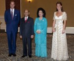 Catherine, Duchess of Cambridge In Alexander McQueen - Official Dinner Hosted by Malaysia's Head of State