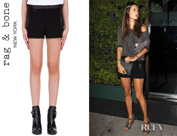 Alessandra Ambrosio's Rag & Bone Tatiana Leather Detailed Shorts