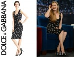 Amy Adams' Dolce & Gabbana Rose Print Ruched Dress