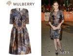 Anna Kendrick's Mulberry Tie-Dye Satin And Lace Dress