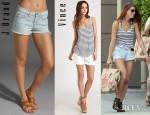 Ashley Greene's Vince Shirttail Tank, J Brand Low Rise Cut Off Shorts And Chloé Suzanne Studded Ankle Boots