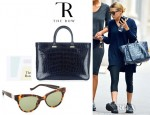 Ashley Olsen's The Row Day Luxe Tote And Linda Farrow for The Row Leather Cat Eye Sunglasses