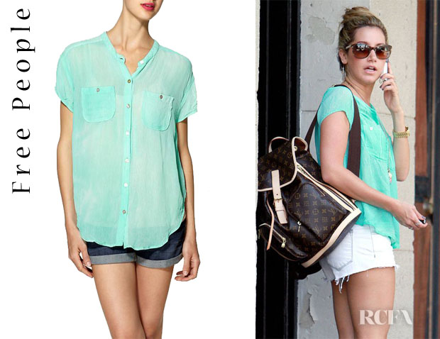 Ashley Tisdale's Free People Spellbound Button Up Shirt1