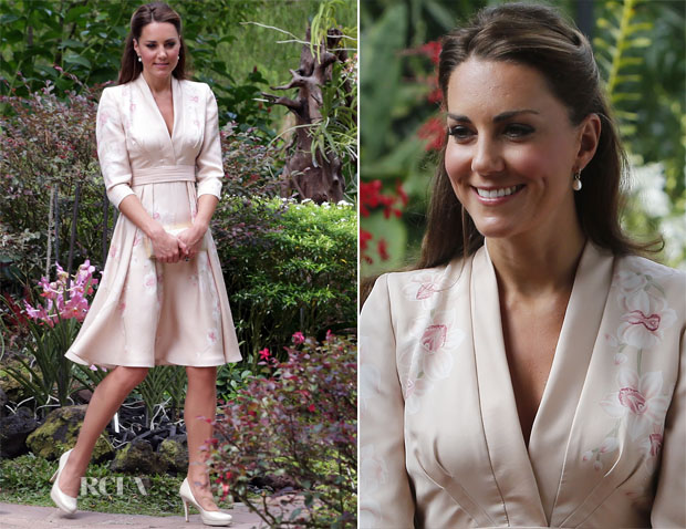 Catherine, Duchess of Cambridge In Jenny Packham -  Singapore Botanical Gardens Visit