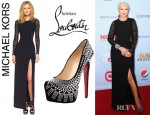 Christina Aguilera's Michael Kors Lace Inset Side Slit Gown And Christian Louboutin Decorapump Strass Pumps