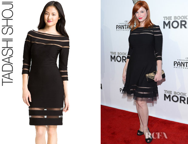 Christina Hendricks' Tadashi Shoji Bateau Neck Shutter Pleated Sheath Dress