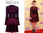 Crystal Reed's Alexander McQueen Intarsia Wool Blend Dress