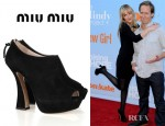 Dakota Johnson's Miu Miu Suede Peep Toe Ankle Boots