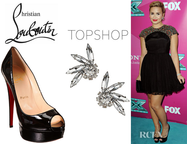 Demi Lovato's Topshop Fan Stone Stud Earrings And Christian Louboutin Lady Peep Toe Pumps
