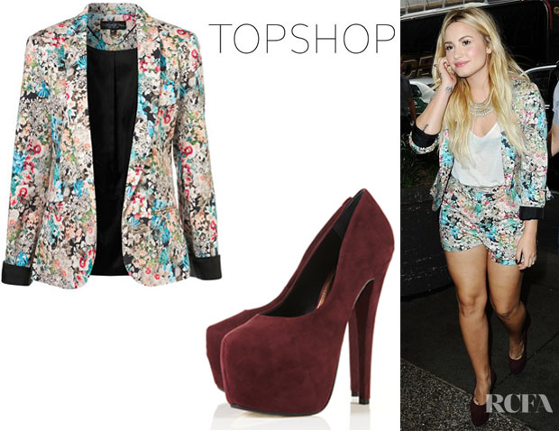 Demi Lovato's Topshop Tall Co-Ord Floral Blazer And Topshop Supreme Extreme Platform Shoes