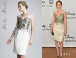 Dreama Walker's Lela Rose Paillette Embroidered Organza Dress