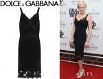Elisabeth Moss' Dolce & Gabbana Lace Trimmed Crepe Dress