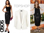 Elizabeth Olsen's Topshop Fluid Longline Blazer And ASOS Leather Pencil Skirt