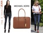 Emma Stone's Rag & Bone/JEAN Skinny Kensington Jeans And Michael Kors Silverton Traveler