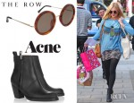 Fearne Cotton's The Row Acetate Lennon Sunglasses And Acne Pistol Leather Ankle Boots