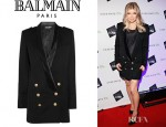 Fergie's Balmain Double Breasted Wool Twill Dress