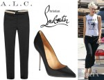 Gwen Stefani's A.L.C. Jude Cropped Stretch Wool Twill Pants And Christian Louboutin Lipsinka Pumps