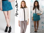 Jenna Dewan-Tatum's Alice + Olivia Willa Leather & Silk Top And Alice + Olivia Whitney Tweed Skirt