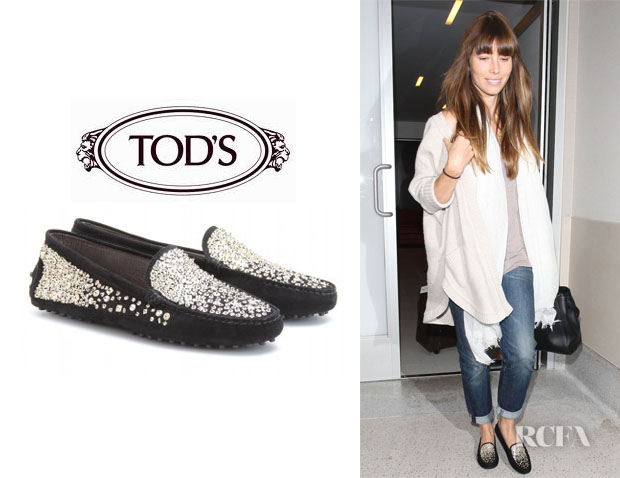 Jessica Biel's Tod's Gommino Ricamo Spray Sequinned Loafers